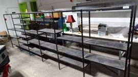 6 continuous sections of metal shelving