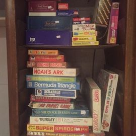 Vintage board games, tons of deck of cards, marbal chess set,