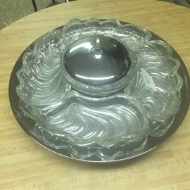 Crystal lazy Susan divided chip and dip set