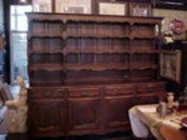 Early oak 8' wide welsh cupboard.