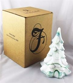 Fenton - green & milk slag tree in the box.  Measures 7.24 H
