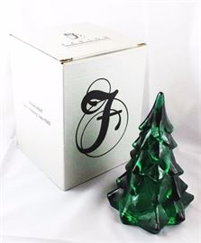 "Fenton - Emerald Green Tree in the box. Measures  7"" H."