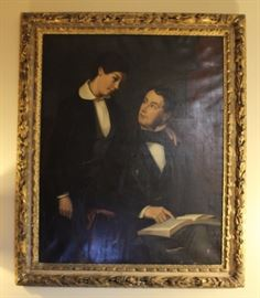 "Scholarly father and son.  19th Century oil on  canvas painting with original plaster frame.  Has  some condition issues.  See photos or email for  condition report. Approx. 58.50"" L x 49.5"" W."