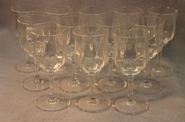 "Baccarat, set of 12, Capri crystal white wine  glasses. Size:  6"" H"