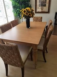 ETHAN ALLEN DINING SET, LEAF AND 6 CHAIRS