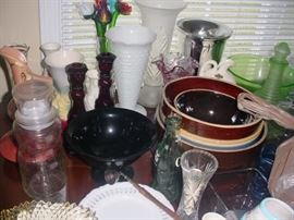 Some of the various glass, old kitchen mixing bowls, and so much more