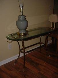 Brass and glass hall table