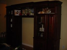 Another view of the entertainment center, fully lighted components
