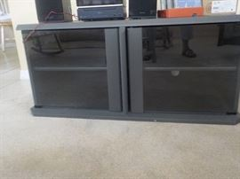 Black Television Stand with Shelf, Glass Doors