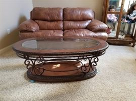 Iron wood and glass coffee table
