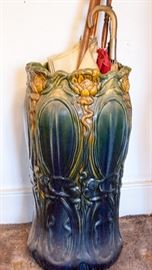 Antique Art Nouveau glazed umbrella stand