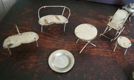 Vintage metal doll house furniture