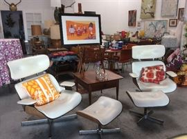 Dames style lounge chairs and ottomans, Baker furniture side table, Shag art