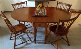 Sprague Carlton hard rock maple drop leaf table with drawers & five chairs