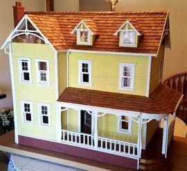 Doll house has windows the adjust and shake shingles