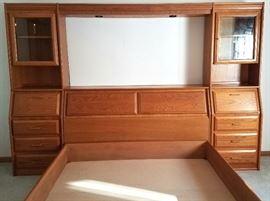 Oak queen headboard & bed frame