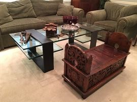 Contemporary Custom Iron & Glass Coffee Table and Carved Storage Bench