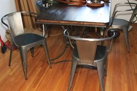 Modern Steel & Wood Dining room Table & Chairs