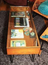 Modern, Steel & Wood Hair Pin Leg Shadow Box Coffee Table