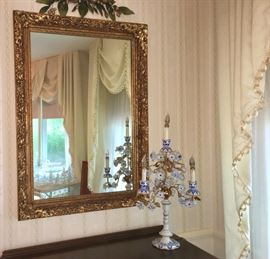 One of several gilded mirrors; French porcelain boudoir lamp