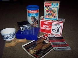 Delft blauw planter, Wham-O Wrist sling shots and Ammo, Playskool  wooden Blocks and Disney wooden blocks, Delta Stereo 3 D Viewer