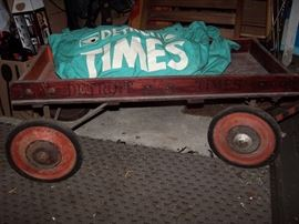 Vintage Detroit Times Paperboy Wagon & Cloth Carrier