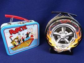 2 Mini Lunchbox Tins (Hot Wheels, Popeye)