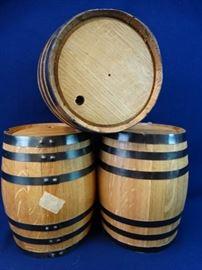 3 Small Decorative Oak Barrels
