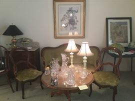 Victorian settee & chairs, Waterford etc glass, round coffee table
