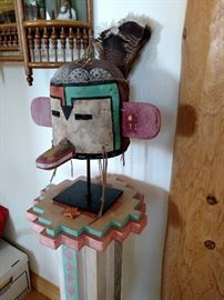 Hopi mask with stand