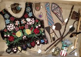 American Indian beaded items, quirts, war clubs and three pieces hand crafted metal tools