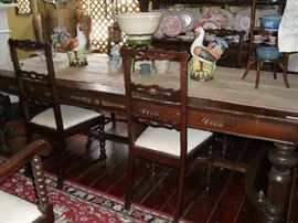 Beautiful Dining Table, 8 Ft. Long, 6 Chairs