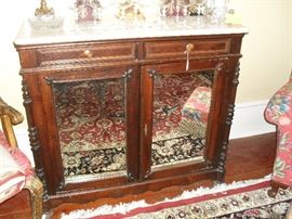 Marble Top Chest, 2drawers, Shelving behind mirrored doors.