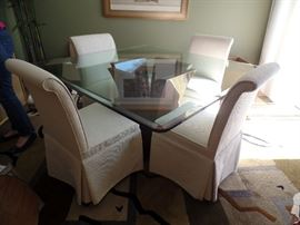 """Beautiful 53"""" Mahogany and  glass top dining/kitchen table w/4 upholster Bishop chairs"""