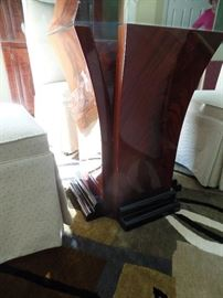 """Beautiful 53"""" Mahogany and  glass top dining/kitchen table w/4 upholster chairs - Table Legs"""