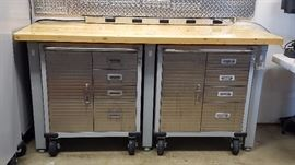 Two Rollout Cabinets (sold separately) that fit neatly under the Work Table (sold separately)