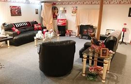 More Coca Cola Collectibles including Coca Cola Store Display Cooler and Leatherette Sectional