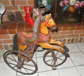 Vintage  Hand Carved Childs Wooden & Metal Horse  Tricycle