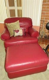La-Z-Boy Red Leather Arm Chair & Ottoman