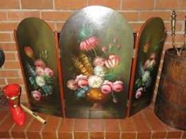 Hand Painted Wood Floral Fire Screen