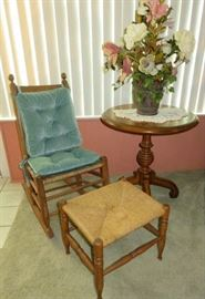 Antique Straw Seat Rocker & Stool/Ottoman, Round Pedestal Accent Table