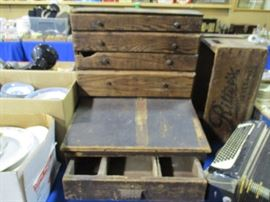 Early wooden cash register