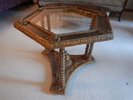 ORNATE GLASS TOP TABLE
