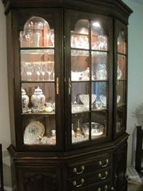 large lighted china cabinet & glassware