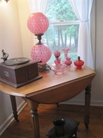 drop leaf table & cranberry glass & Victrola