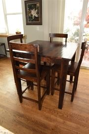 Solid Wood Bistro Table  With Four Chairs