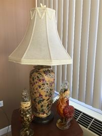 one of two matching Asian/floral lamps