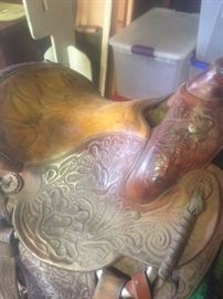 Custom, hand-tooled plantation saddle.