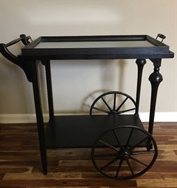 Rolling Tea Cart with Removable Glass Top