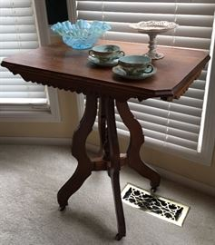 Antique Parlor Table - Some Art Glass & China